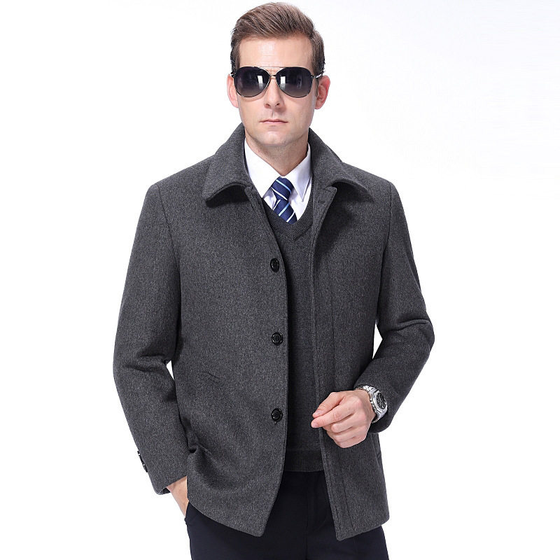 Middle aged and old mens cashmere coat mens Woolen jacket lapel mens coat mens thick fathers suit