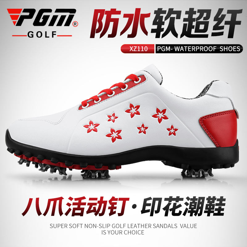 PGM golf shoes womens waterproof shoes soft super fiber material movable nail printing tide shoes golf shoes