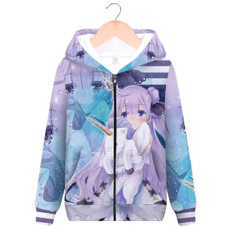 Azur Lane blue line animation peripheral hooded zipper sweater fashion trend student sweater