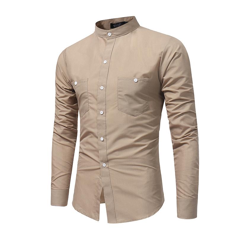2019新款 男士英伦立领长袖衬衫时尚纯色修身大码衬衣7688 P25