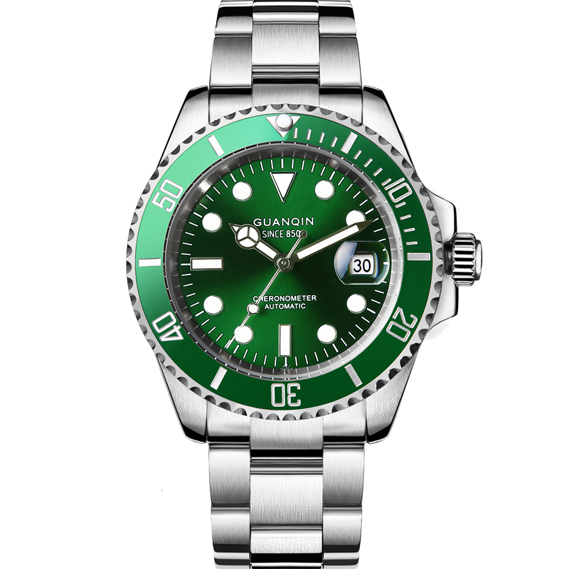 Genuine Guanqin automatic mechanical watch steel luminous waterproof watch mens official flagship store Green Water Ghost black water ghost