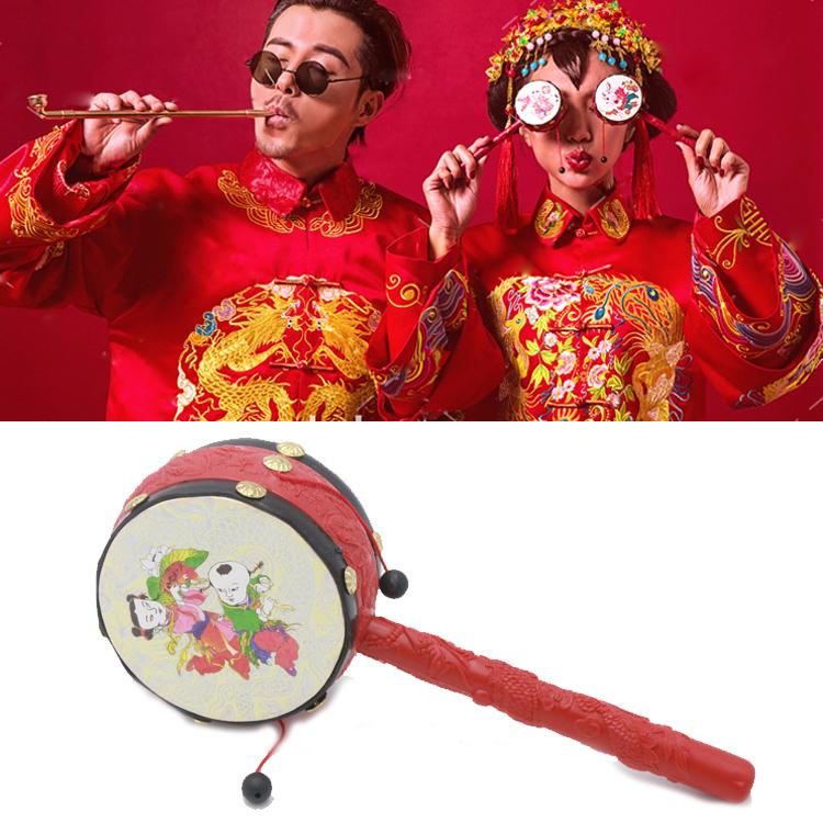 中国风古装摄影道具 拨浪鼓儿童玩具古装婚纱主题拍照道具5元一个