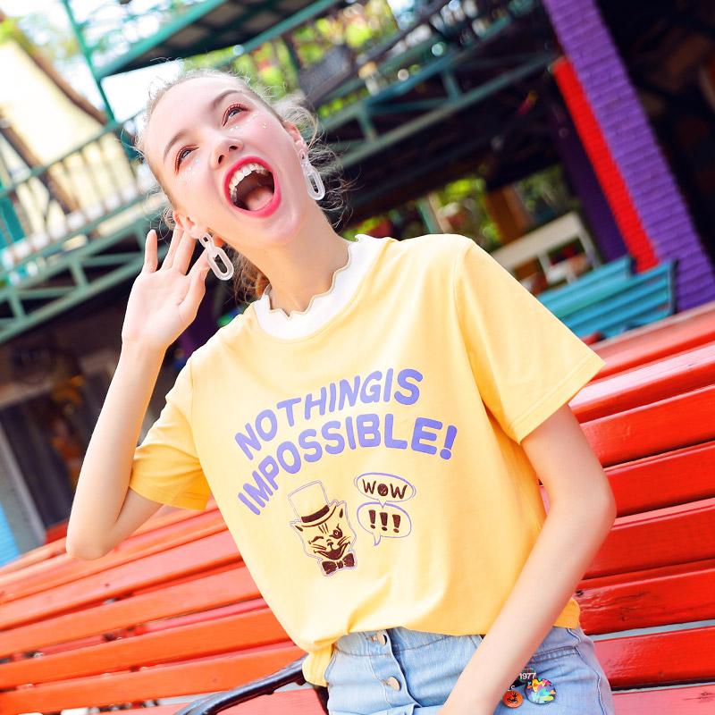 黄色短袖T恤女2018夏装新款韩范甜美可爱少女宽松墨绿色夏季上衣