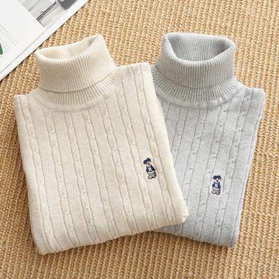男童毛衣儿童套头针织衫棉白色秋冬款女加绒高领打底衫加厚毛线衣
