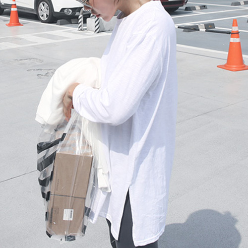 春秋装新款韩版纯色百搭打底衫宽松圆领纯棉中长款长袖内搭T恤女