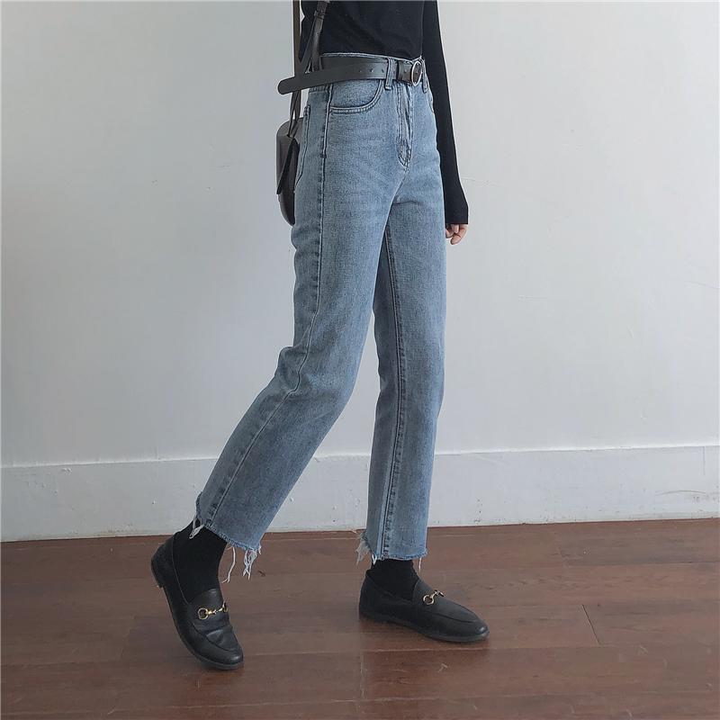 muzi 18秋/简单干净百搭又好穿的毛边九分牛仔裤 修腿显瘦直筒裤