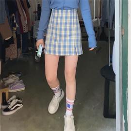 muzi/(有底裤防走光)青春少女 开叉格子半身裙高腰显瘦包臀短裙图片