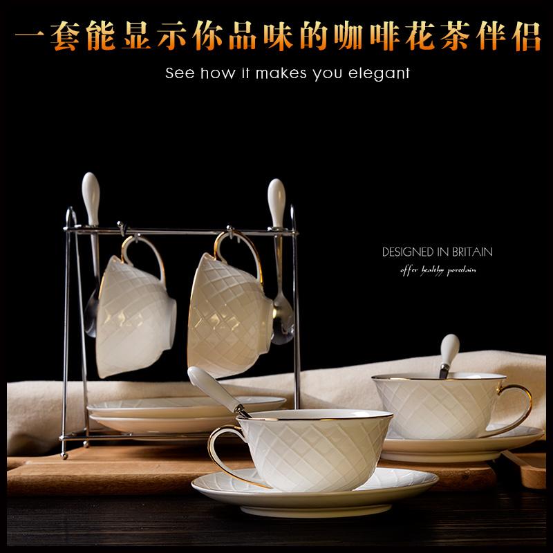 浮雕商務英歐式陶瓷骨瓷咖啡杯套裝紅花茶杯 拉花金邊杯碟帶勺