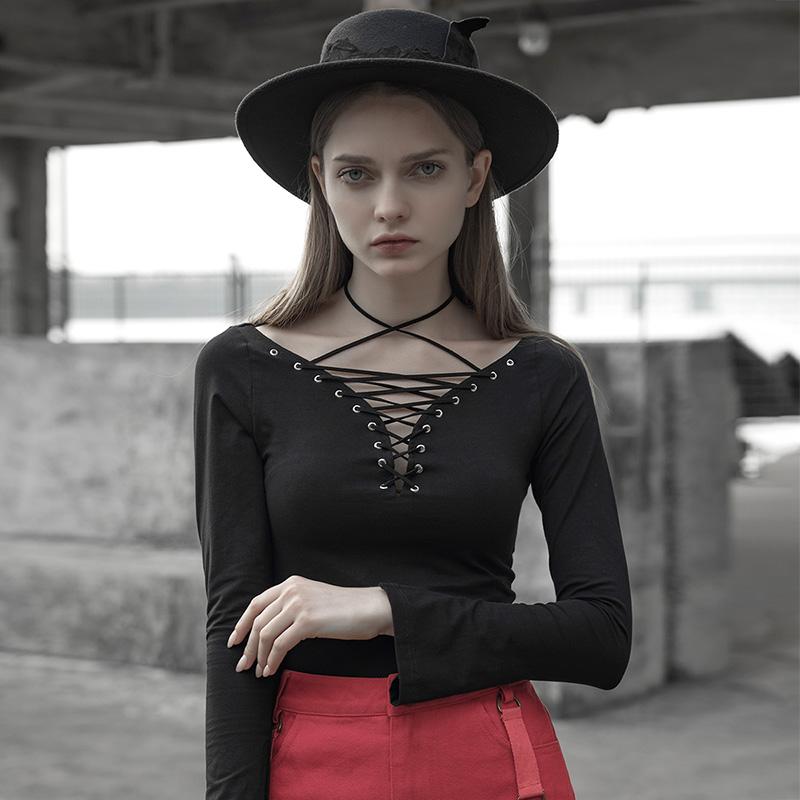 PUNKRAVE时尚暗黑系性感绑带低胸T恤女春季新款修身显瘦短款上衣10-11新券