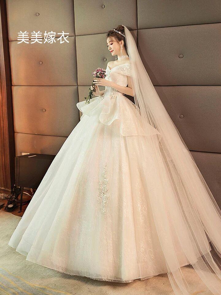 主婚纱2021新款春季韩式时尚公主显瘦 一字肩婚纱礼服新娘齐地女