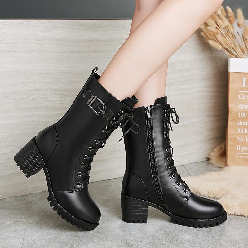 雪地意尔康真皮马丁靴女鞋新款粗跟中跟加绒中筒靴厚底羊毛短靴女