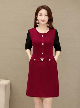 2021新款中年妈妈夏装高贵洋气大码连衣裙中老年女装显瘦遮肉裙子
