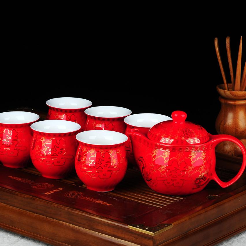 景德鎮陶瓷茶具套裝 雙層隔熱茶具 婚慶 茶具 結婚敬茶杯茶壺