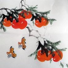 特价过道装饰国画风水画纯手绘花鸟画字画四尺八开柿子11