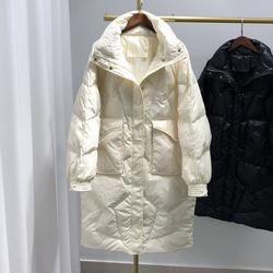韩版中长款羽绒服女加厚宽松白鸭绒立领外套2020新款洋气休闲爆款
