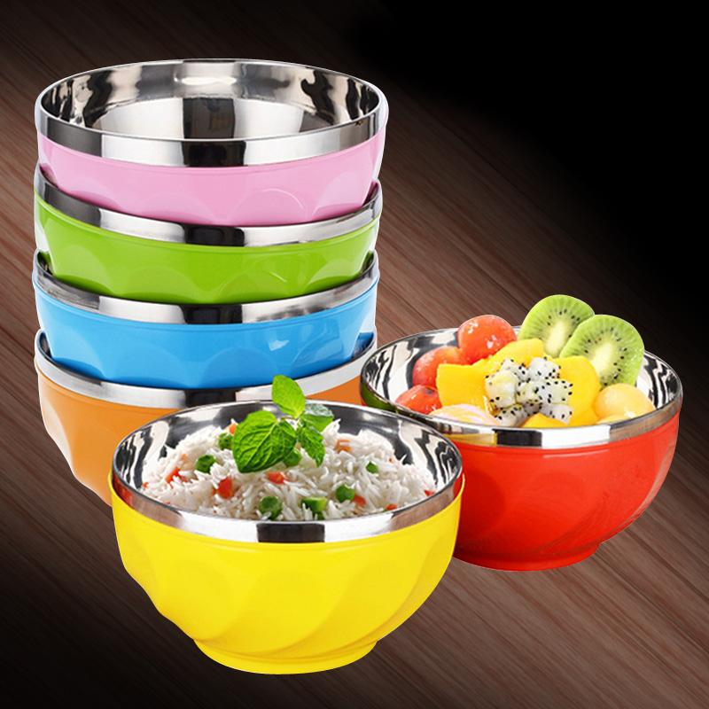不锈钢碗家用隔热碗双层防烫个性成人大号面碗食堂防摔儿童吃饭碗5.5元