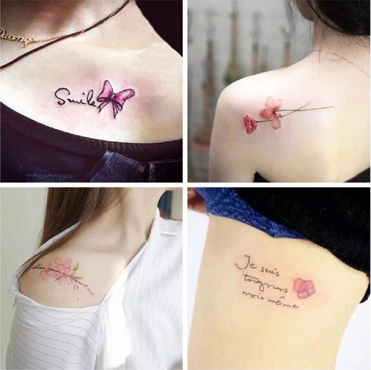 1套30张 韩国少女防水仿真纹身贴持久花朵英文可爱性感脚踝贴纸