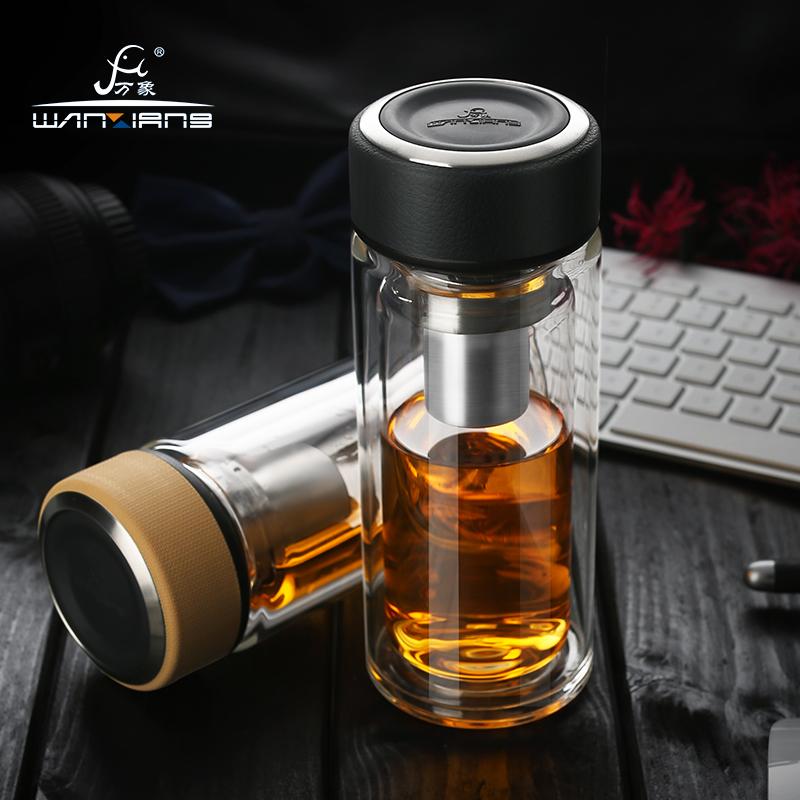 萬象玻璃杯雙層帶蓋男女士透明杯子耐熱商務車載水晶泡茶杯V20V21