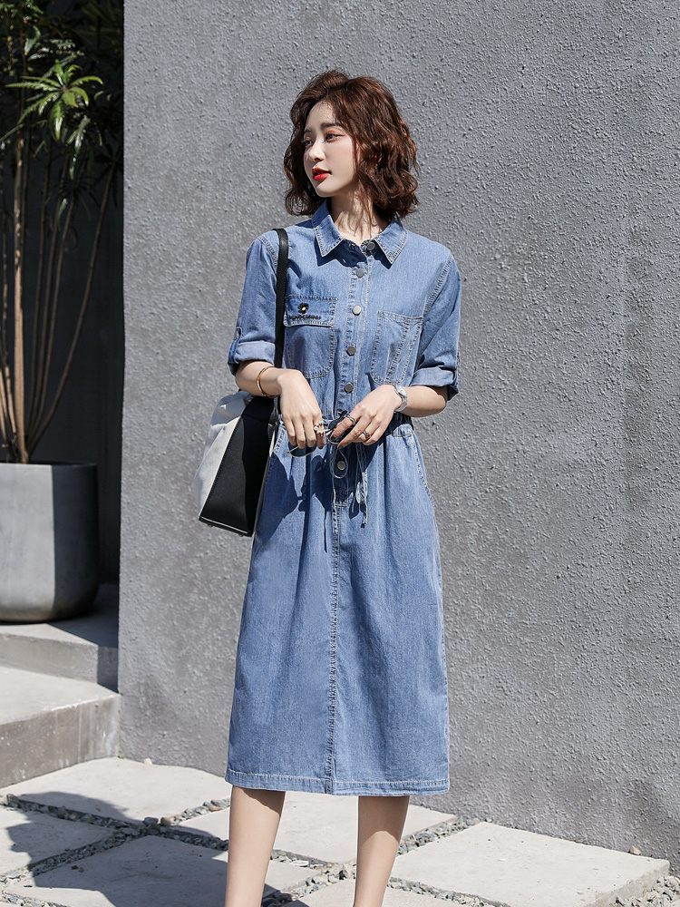 Summer capable Lapel denim skirt embroidered letter drawstring waist straight dress mid length dress jy0220