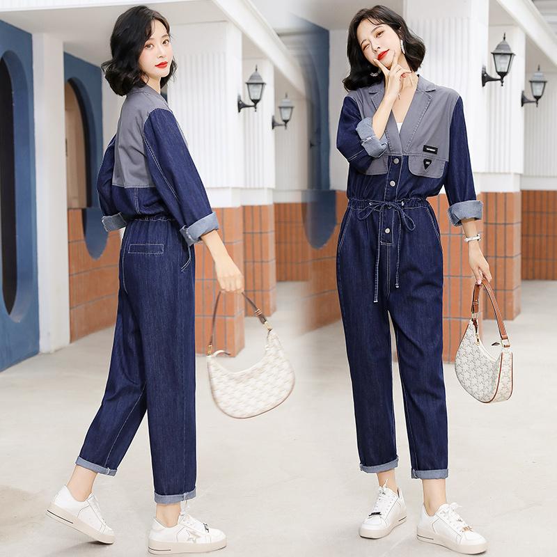 Autumn trend new Lapel contrast stitched Jumpsuit long sleeve drawstring waist jeans Jumpsuit pants