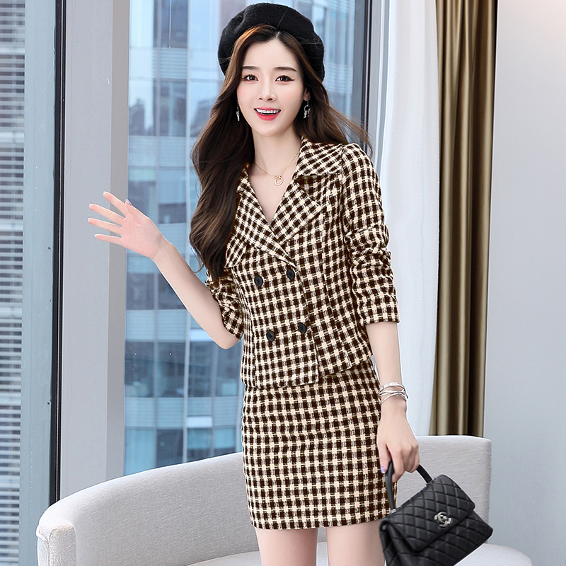 Plaid suit skirt temperament large lapel small fragrance slim fit short suit + short skirt two-piece black and white / coffee