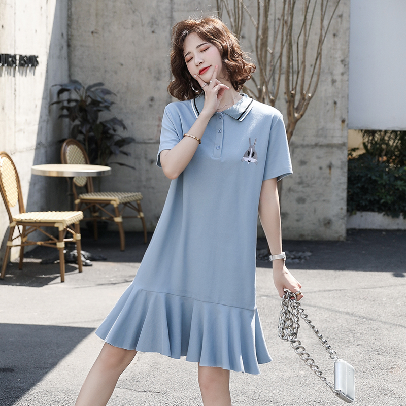 Color matching Polo neck short sleeve skirt casual loose one-piece skirt patchwork Ruffle Dress Pink / blue jy09158