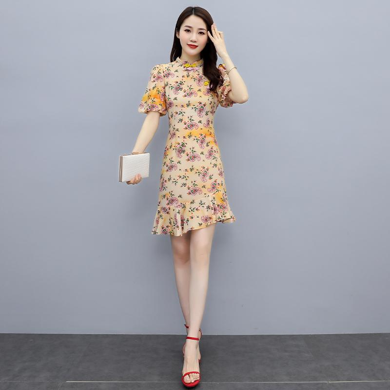 Ruffle Dress summer 2021 comfortable simple fashion short slim Floral Dress