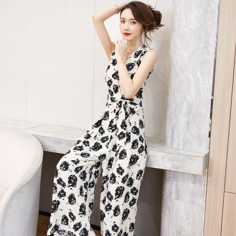 Summer new cross V neck sleeveless Jumpsuit with lace up bow printed Jumpsuit with wide leg pants JT0955