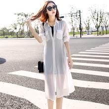2021夏季新款韩版中长款防紫外线防晒衣女士大码雪纺沙滩衫薄外套