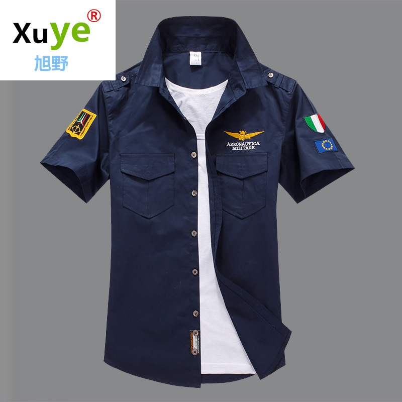 men short sleeve cotton embroidery Army fans man Shirts