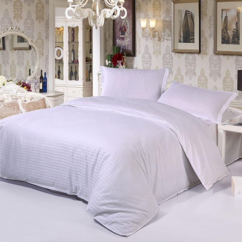 曼庄家纺全棉酒店宾馆纯色床品双人被套床笠四件套可定制规格清仓
