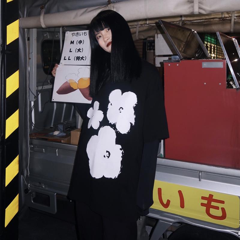 文文婷短袖T恤女新款黑色个性气质印花宽松百搭复古上衣潮打底衫