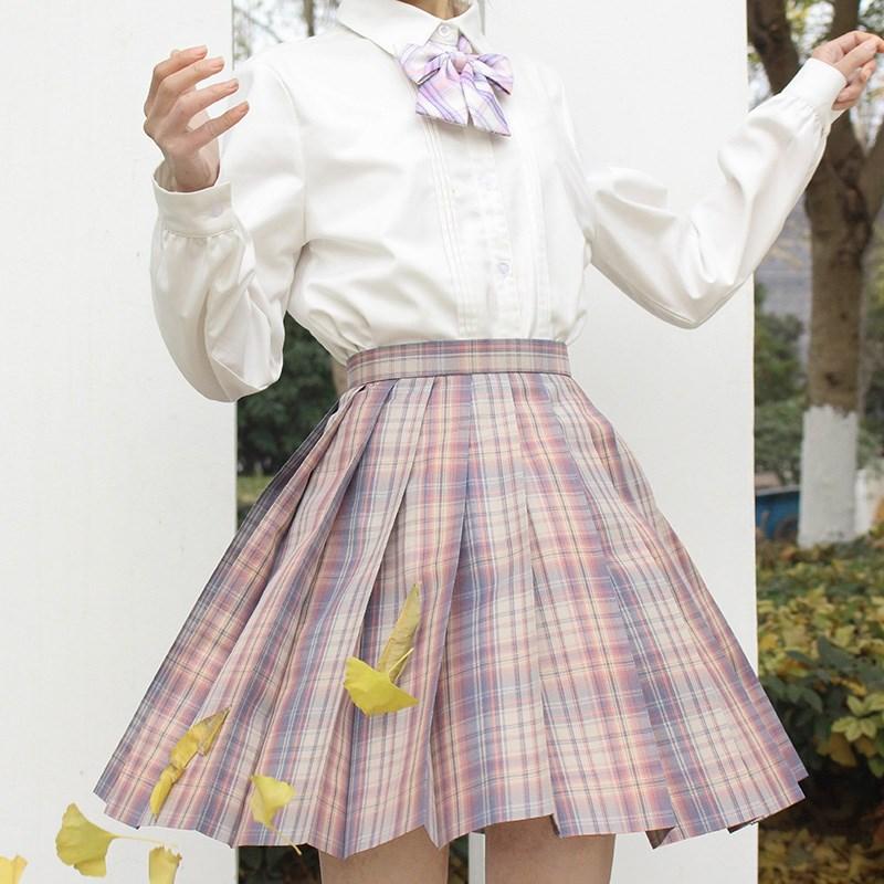 【自由】原创 晚霞色百褶裙 JK制服裙 格裙 包邮 现货 魔力风车jk