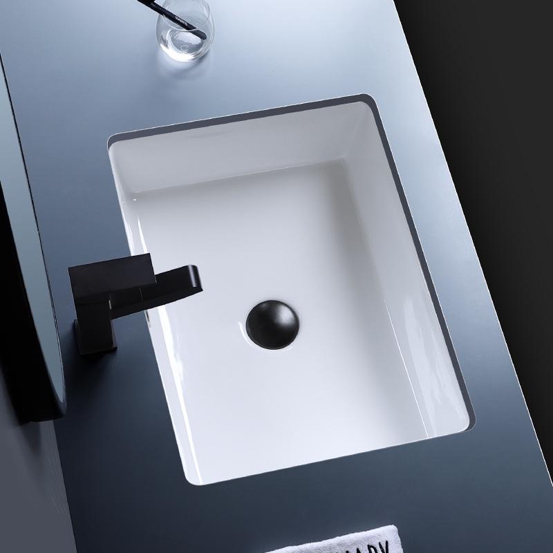 北欧嵌入式平底长方形陶瓷台下盆大小尺寸浴室柜洗脸盆阳台洗手盆