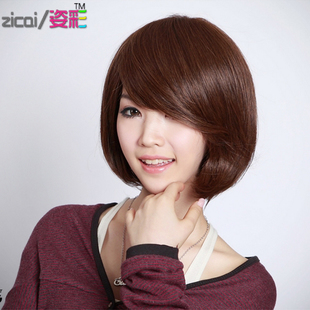 Korean fashion girls with short hair wig wig oblique bangs short hair wig girls pear head BOBO wave nature