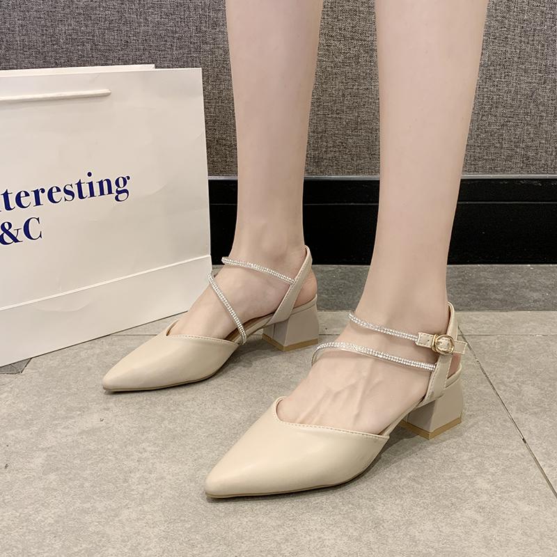包头后空单鞋女2020夏季尖头粗跟中跟高跟凉鞋春百搭米色时尚女鞋图片