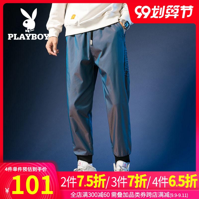 花花公子男裤2020秋季新款男装宽松运动裤束脚裤渐变色长裤子男潮