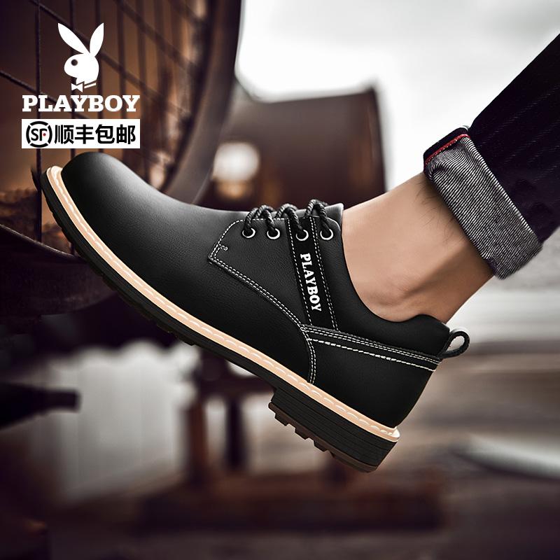 花花公子男鞋春季新款男士时尚厚底增高工装皮鞋商务休闲大头皮鞋