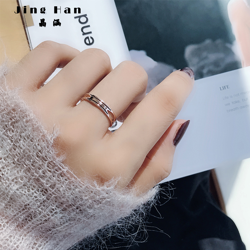Japanese and Korean Chaoren personality hollow ring female titanium steel 18k rose gold simple index finger ring student decoration net red ins