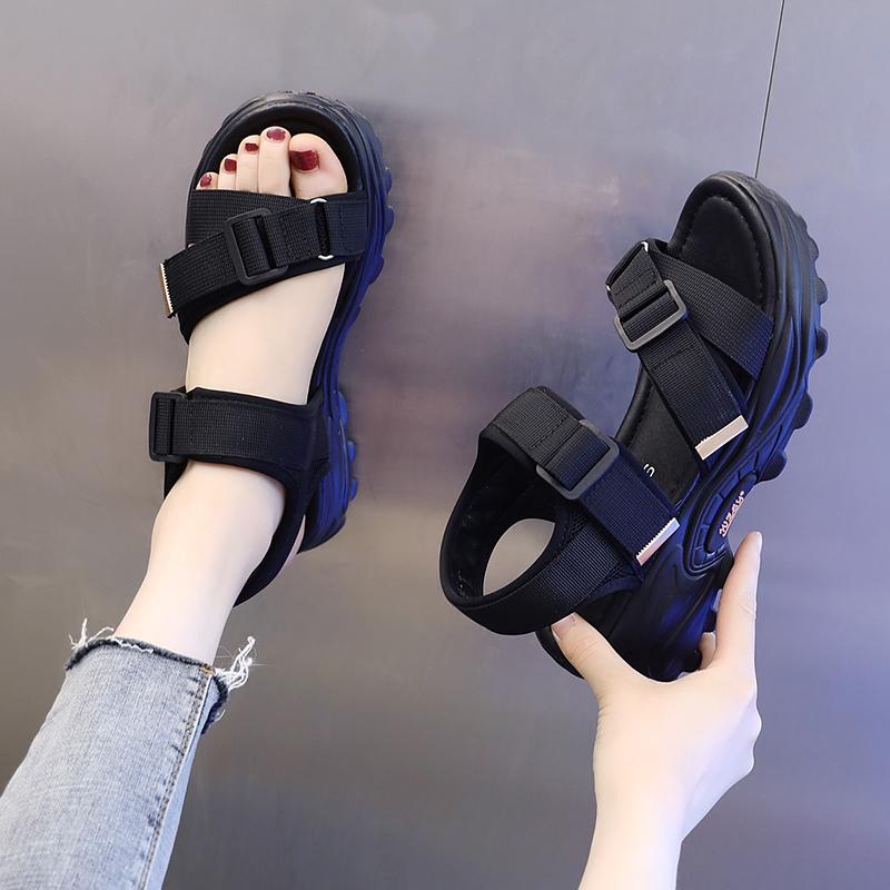 厚底运动凉鞋女2021年夏季新款时尚网红学生魔术贴露趾防滑沙滩鞋