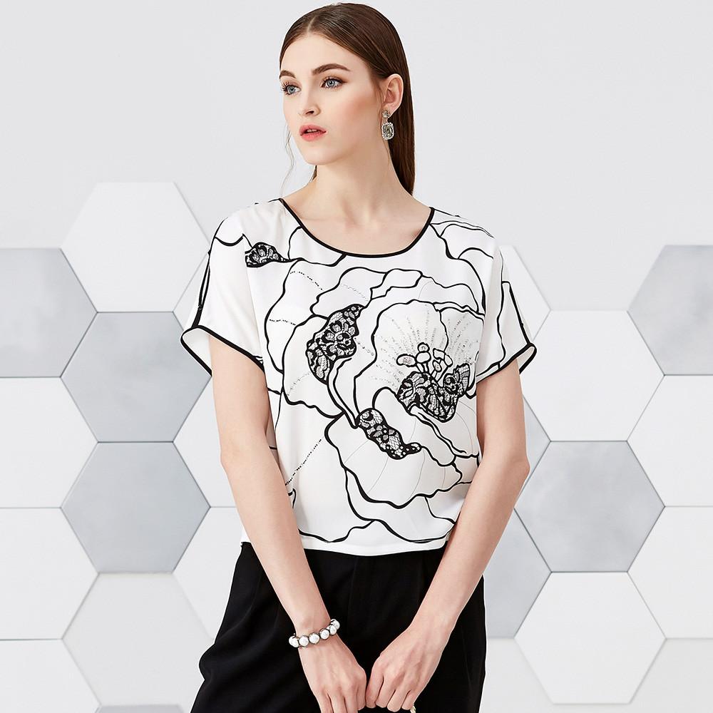 永恒颜色夏装新品亮片气质蕾丝短袖小衫上衣女夏J295S051