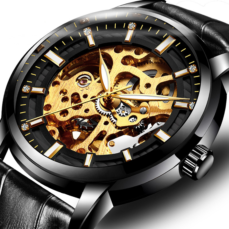 Tiktok: new watch mens automaton mechanical watch new concept hollowing out student trend tremor black technology Swiss mens Watch