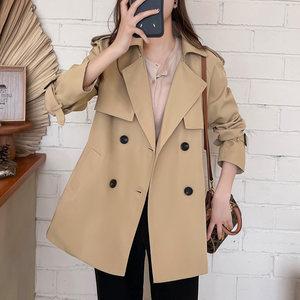 短款风衣女2021年新款春秋款新流行英伦风中长款小个子外套女春秋