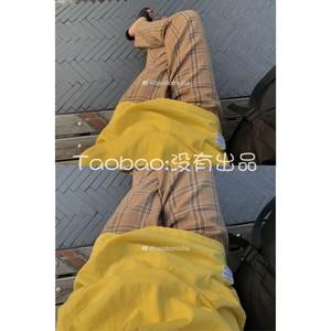 [没有出品]私服限量面料日系少女超美驼色宽松格子舒适棉麻