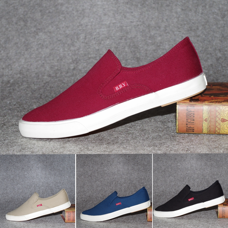 Bby wins in one step: simple one legged lazy canvas shoes mens Korean fashion cloth shoes mens low top casual shoes