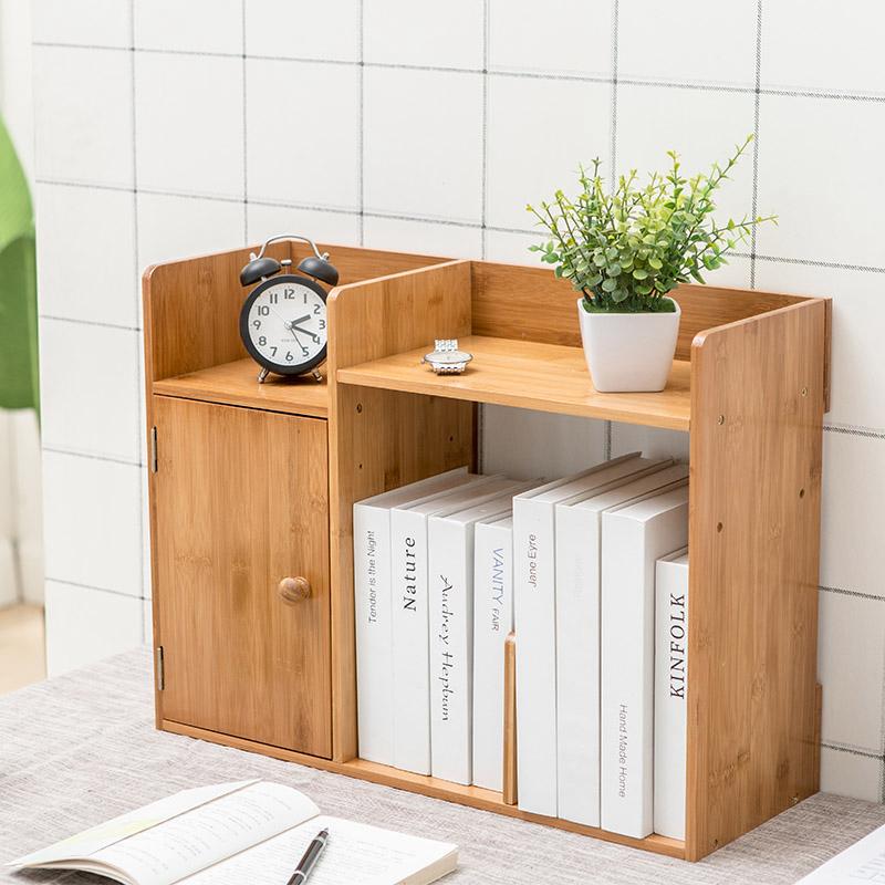 10月10日最新优惠楠竹桌面收纳小书架简易创意小柜子
