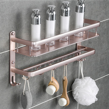 Non perforated bathroom shelf space aluminum towel rack toilet shelf wall hanging bath towel rack hardware