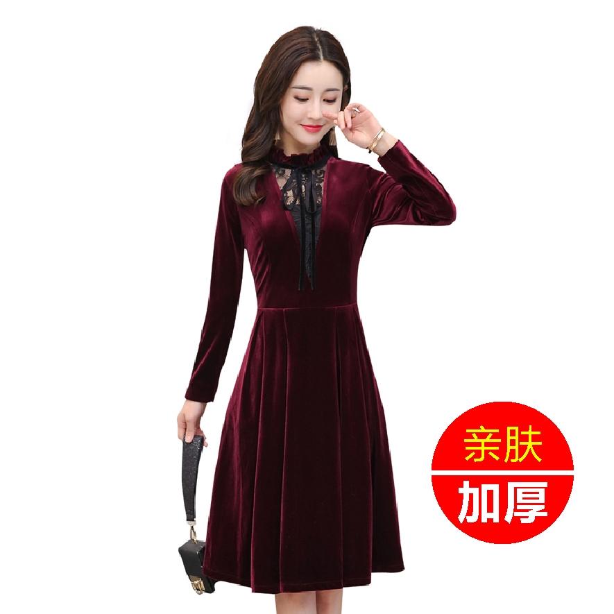 (用5元券)阔太太金丝绒连衣裙高贵洋气绒面妈妈中长款平绒连衣裙女法式复古