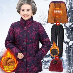 奶奶装冬装棉衣60-70岁妈妈加绒外套老人衣服太太棉袄老年人女装