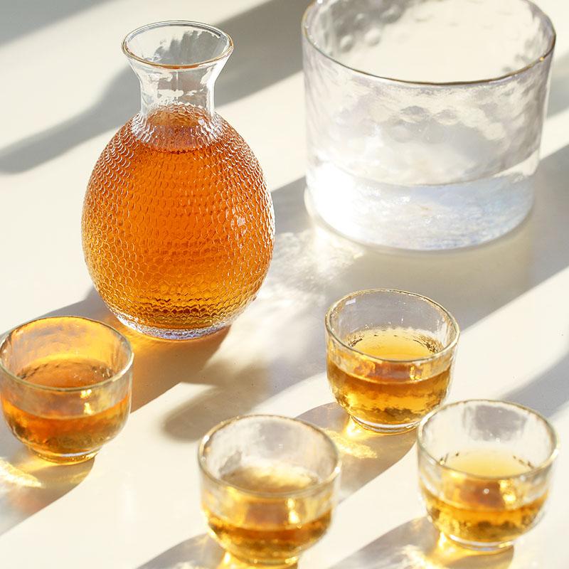 酒狐 温酒器 分酒器 烫酒壶 锤目纹金边1缸1壶4盏